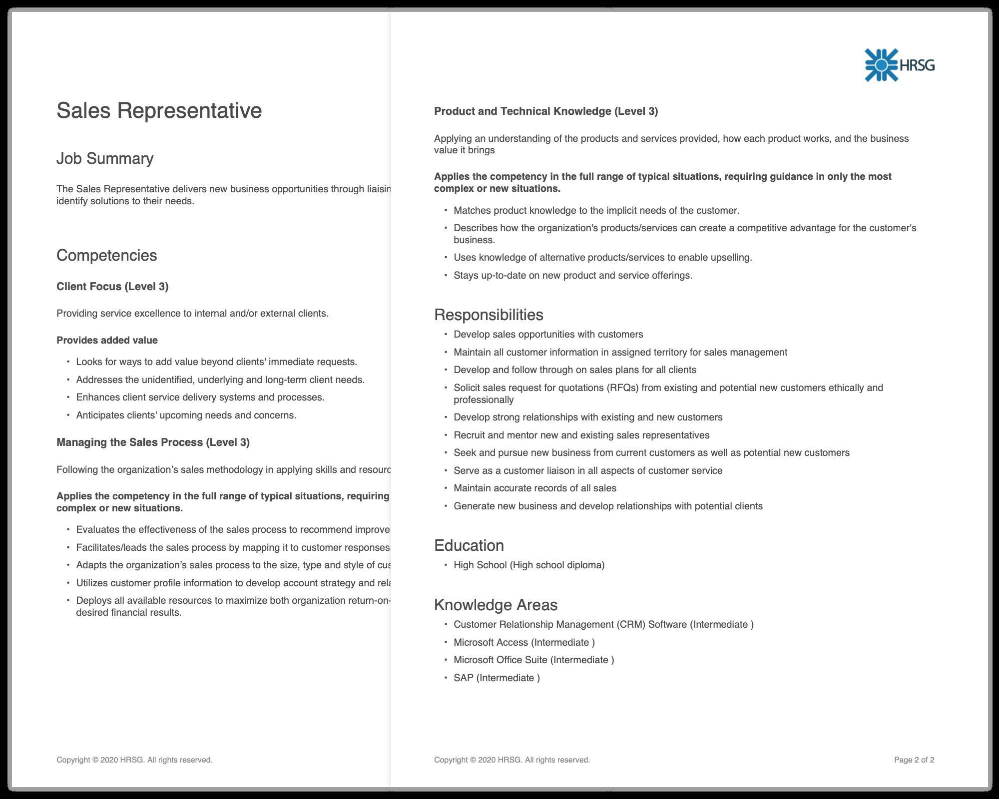 A PDF export of the sample Sales Rep job description